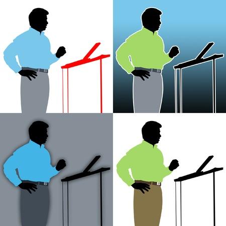Abstracts of speaker with podium. Standard-Bild