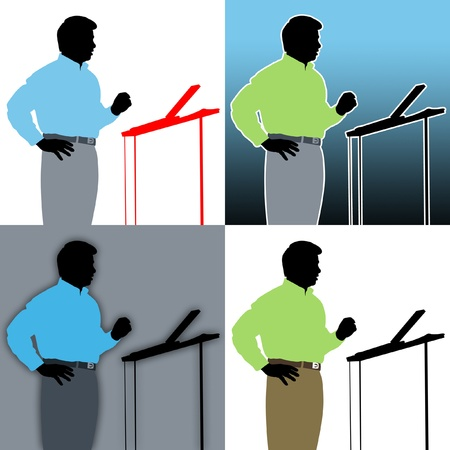 lecturing: Abstracts of speaker with podium. Stock Photo