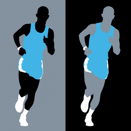 Abstract silhouette of a marathon runner. photo