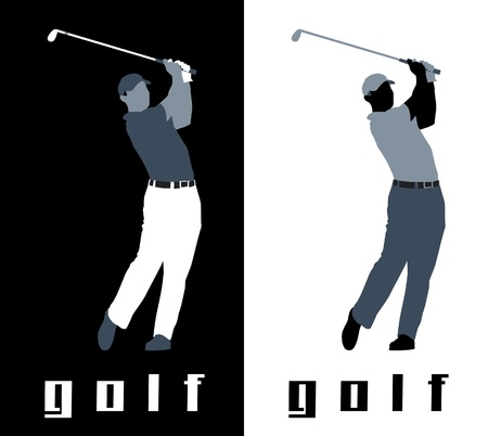 Abstract of golfer in black and white backgrounds.