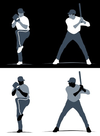Abstracts of baseball pitcher and batter in black and white backgrounds. Standard-Bild