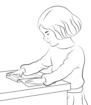 Girl sitting reading a book on table.
