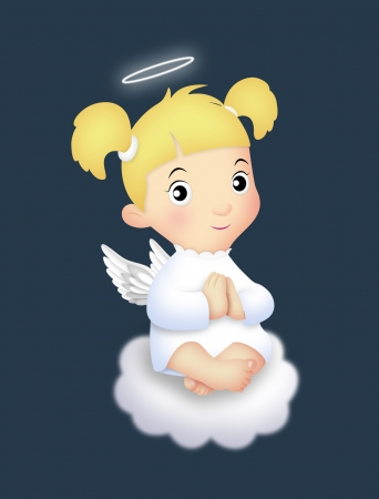 Angel girl sitting on a cloud. photo