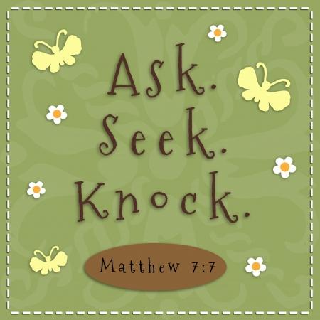 Ask, Seek, Knock sign from Matthew 7 7  Standard-Bild