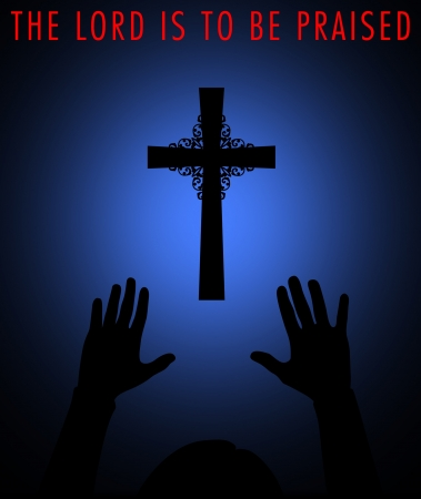 Silhouette of a cross with worshipper