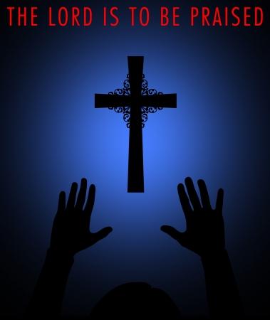 alabando a dios: Silueta de una cruz con adorador
