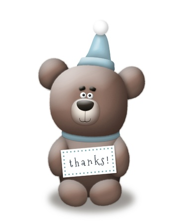 Cute bear with party hat holding Thank You sign.