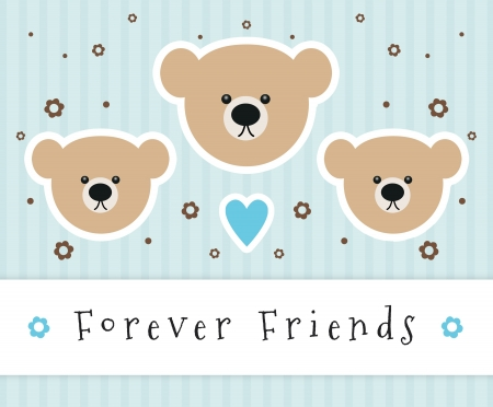 Forever Friends sign with teddy bear heads. Standard-Bild