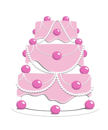 three layer: Pink cake with pearls and spheres.
