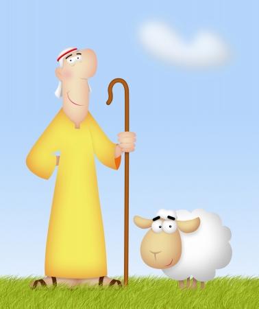 dobr�: Shepherd s jeho roztomilé ovce. Reklamní fotografie