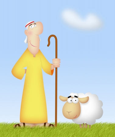 lamb of god: Shepherd with his cute sheep.