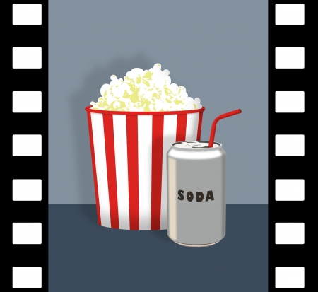 soda pop: Popcorn and soda can with film strip border