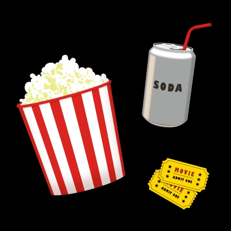 Popcorn, soda can and movie tickets.