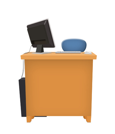 Office table with desktop computer.