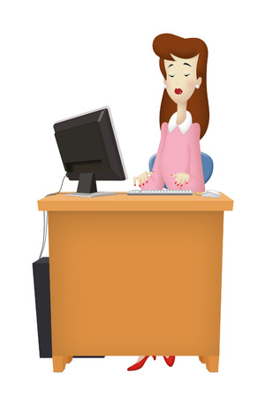 Woman working with desktop computer. photo