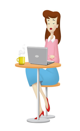 Woman working with laptop computer. photo