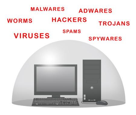 Desktop computer with force field against viruses.