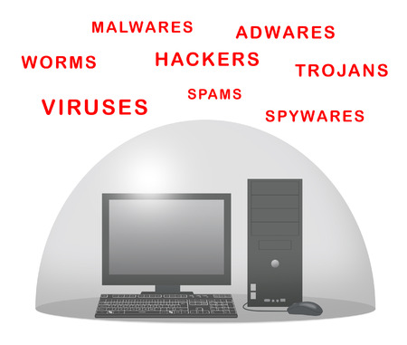 adware: Desktop computer with force field against viruses.