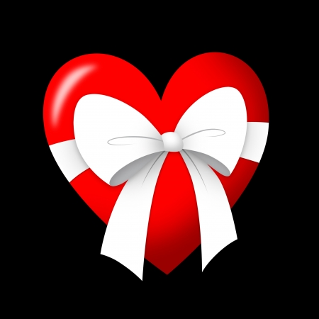 Heart gift with white ribbon.