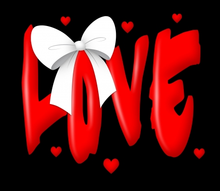 Love text with white ribbon.