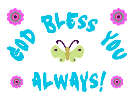 God bless you sign with butterfly and flowers. Stock Photo