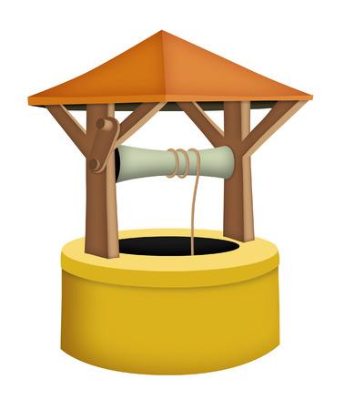 wells: Cartoon wishing well with roof