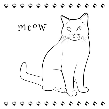 Line drawing of sitting cat