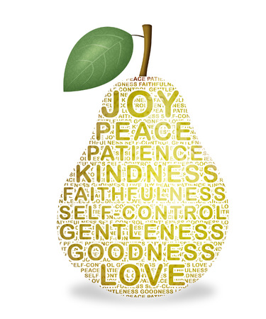 Pear representing the fruit of the Holy Spirit.