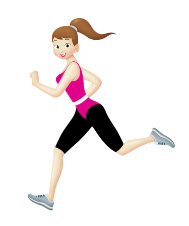 Girl in aerobics outfit jogging.