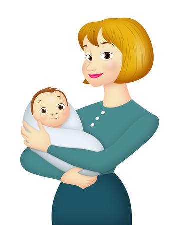 madre trabajando: Madre que lleva al beb� en sus brazos. Foto de archivo