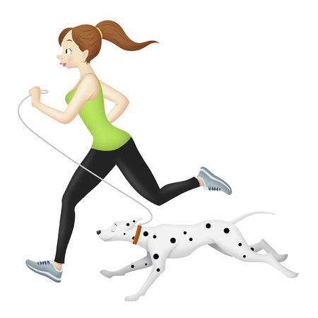 Girl jogging with her dalmatian.
