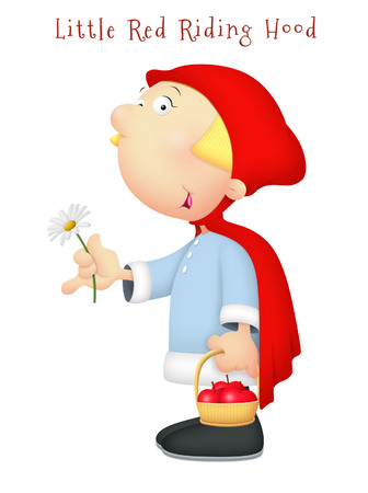 big daisy: Little Red Riding Hood holding daisy.