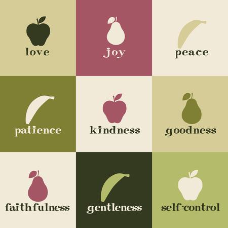 Tiles depicting fruit of the Holy Spirit.