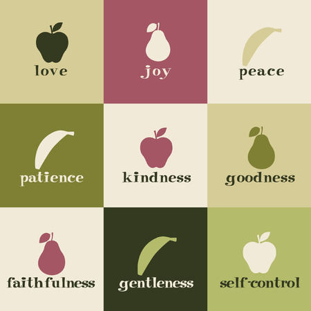 fruit illustration: Tiles depicting fruit of the Holy Spirit.