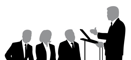 orator: Silhouettes of speaker and listeners. Stock Photo