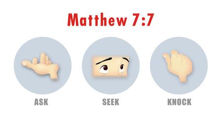 knock: Ask, Seek, Knock sign from Matthew 7:7. Stock Photo