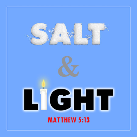 new testament: Salt and Light sign with salt and candle design. Stock Photo