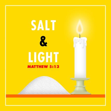 spiritual light: Salt and candle depicting salt and light.