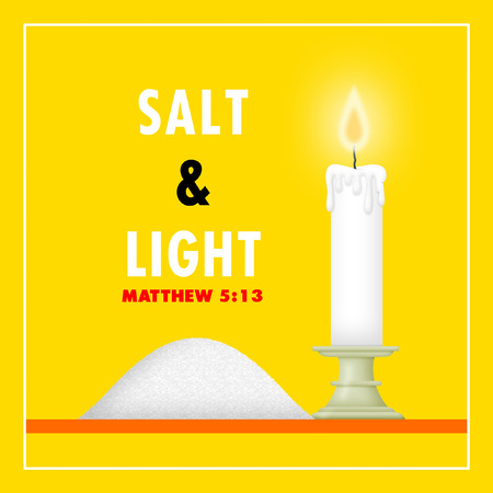 Salt and candle depicting salt and light.