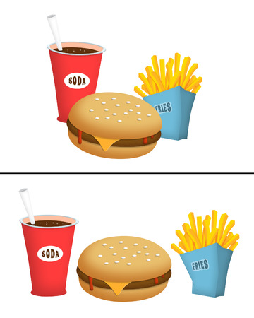 burger and fries: Burger, fries and soda fast food.
