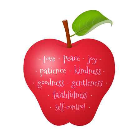 gentleness: Apple representing the fruit of the Holy Spirit.
