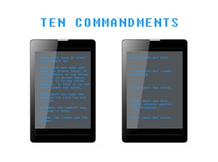 The Ten Commandments in phone tablets. Фото со стока