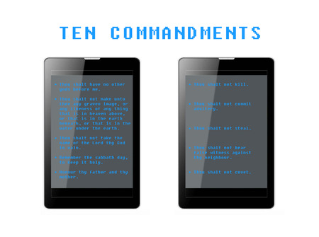 disobedience: The Ten Commandments in phone tablets. Stock Photo