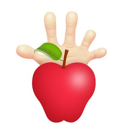 Hand reaching for forbidden fruit.