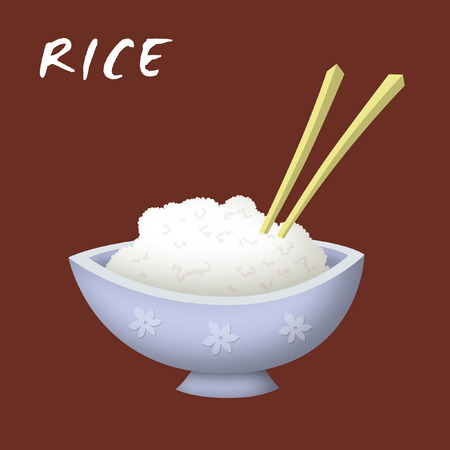 eating lunch: Bowl of rice cartoon with chopsticks. Stock Photo
