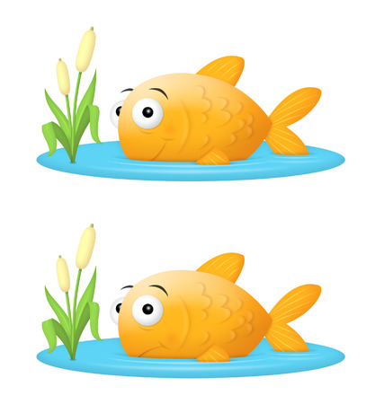 comfort: Big fish in a small pond, or fish out of water illustration.