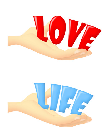 Hands holding words LOVE and LIFE.