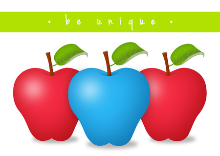 originality: Blue apple in the middle of red ones. Stock Photo
