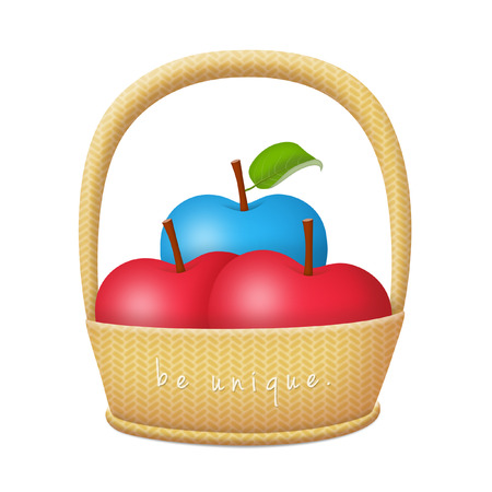 Basket of apples with a blue apple.