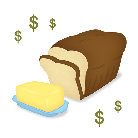 Bread loaf and butter on tray.